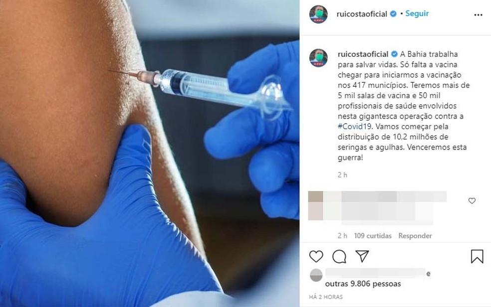 Rui Costa anunciou que 50 mil profissionais da saúde atuarão na imunização do estado — Foto: Reprodução/Instagram
